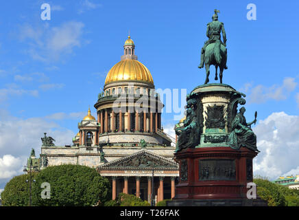 Saint Isaac's Cathedral (1858), Russian Orthodox cathedral and Monument to Russian Emperor Nicholas I (1856) on St Isaac's Square. Saint Petersburg, - Stock Photo