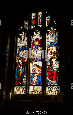 Stained glass windows of the Holdsworth Chapel in Halifax Minster. West Yorkshire. UK. (106) - Stock Photo