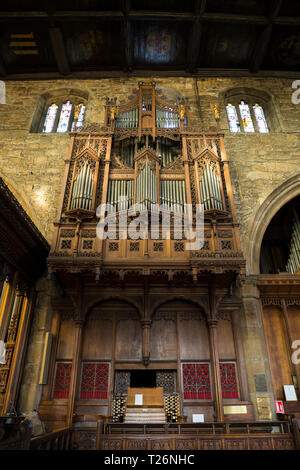 The church Organ (musical instrument ) and its keys / keyboard and pipes, in Halifax Minster. West Yorkshire. UK. Made by Harrison & Harrison of Durham. UK - Stock Photo