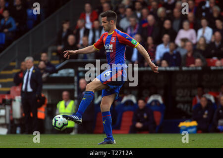 London, UK. 30th March 2019. Scott Dann of Crystal Palace in action. Premier League match, Crystal Palace v Huddersfield Town at Selhurst Park in London on Saturday 30th March 2019.  this image may only be used for Editorial purposes. Editorial use only, license required for commercial use. No use in betting, games or a single club/league/player publications. pic by Steffan Bowen/Andrew Orchard sports photography/Alamy Live news - Stock Photo