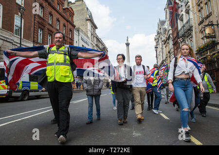 London, UK. 30th March, 2019. Pro-Brexit activists from Yellow Vests UK march in Whitehall during an event billed as the Great British Betrayal Rally. Credit: Mark Kerrison/Alamy Live News - Stock Photo