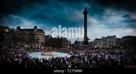 London, UK 30th March 2019. Thousands of Sunderland fans descend on Trafalgar Square in London in advance of their Checkatrade Trophy final against Portsmouth on Sunday (c) Paul Swinney/Alamy Live News - Stock Photo