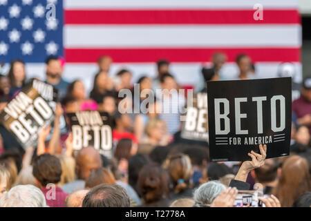Texas, USA. 30th March 2019. Democratic candidate Beto O'Rourke kicks off presidential campaign in Houston Credit: michelmond/Alamy Live News - Stock Photo
