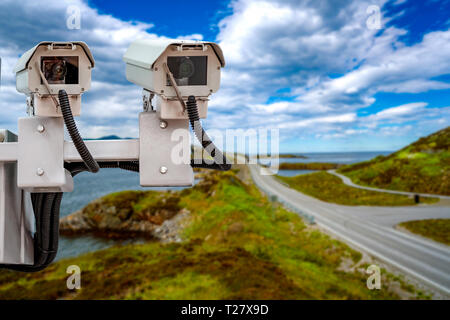 Radar speed control camera on the road - Stock Photo