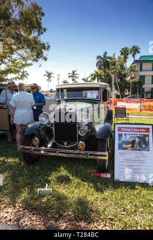 Naples, Florida, USA – March 23,2019: Green 1930 Ford Model A Deluxe Fordor at the 32nd Annual Naples Depot Classic Car Show in Naples, Florida. Edito - Stock Photo