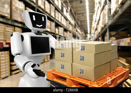 Industrial 4.0 , Augmented reality and 3d robot smart logistic concept. Hand holding tablet with AR application for check order pick time around the w - Stock Photo