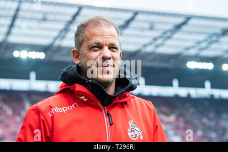 Cologne, Germany. 31st Mar, 2019.  Soccer: 2nd Bundesliga, 1st FC Cologne - Holstein Kiel, 27th matchday in the Rhein-Energie-Stadion. Cologne coach Markus Anfang is on the verge of the game. Photo: Guido Kirchner/dpa - IMPORTANT NOTE: In accordance with the requirements of the DFL Deutsche Fußball Liga or the DFB Deutscher Fußball-Bund, it is prohibited to use or have used photographs taken in the stadium and/or the match in the form of sequence images and/or video-like photo sequences. Credit: dpa picture alliance/Alamy Live News - Stock Photo