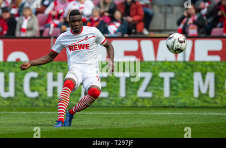 Cologne, Germany. 31st Mar, 2019.  Soccer: 2nd Bundesliga, 1st FC Cologne - Holstein Kiel, 27th matchday in the Rhein-Energie-Stadion. Cologne's Jhon Cordoba scored the goal to 3-0. Photo: Guido Kirchner/dpa - IMPORTANT NOTE: In accordance with the requirements of the DFL Deutsche Fußball Liga or the DFB Deutscher Fußball-Bund, it is prohibited to use or have used photographs taken in the stadium and/or the match in the form of sequence images and/or video-like photo sequences. Credit: dpa picture alliance/Alamy Live News - Stock Photo