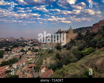 Saint Nicholas Church in Narikala fortress and view of city Tbilisi, Georgia - Stock Photo
