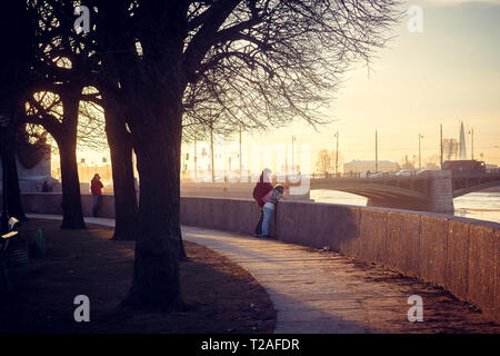 Spit of Vasilyevsky Island at sunset. St. Petersburg downtown. City sights. Evening in the city - Stock Photo