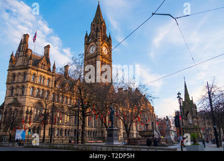 Manchester, United Kingdom - February 17, 2019: Manchester Town Hall with Chinese New Year lantern decorations in Manchester, UK - Stock Photo