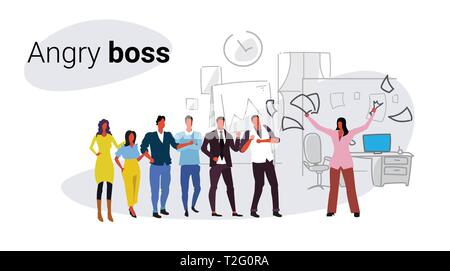 unsatisfied woman boss throwing paper documents screaming on frustrated workers bad job concept angry employer shouting employees co-working office in - Stock Photo