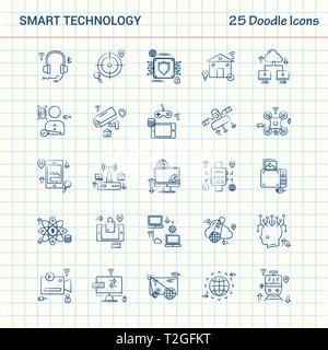 Smart Technology 25 Doodle Icons. Hand Drawn Business Icon set - Stock Photo