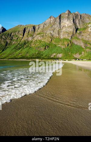 Ersfjord Beach - Ersfjordstranda on Ersfjord on Senja island Troms Norway. - Stock Photo