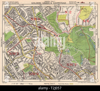 NW LONDON. Golders Green Hampstead Child's Hill Cricklewood. BACON 1948 map - Stock Photo