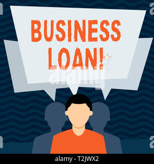 Handwriting text Business Loan. Conceptual photo creation of debt which will be repaid with added interest Faceless Man has Two Shadows Each has Their - Stock Photo
