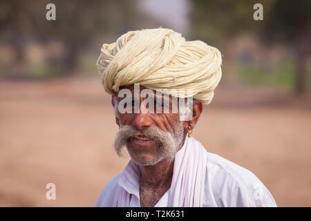 Portrait of an indian man,Osian, Rajasthan, India, Asia - Stock Photo