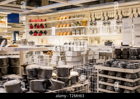 Russia, saint-petersburg,march 16, 2019 . IKEA. Photo of new dishes for home use on the shelfs in the store - Stock Photo