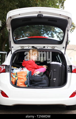 A Holiday with Children and car - Stock Photo