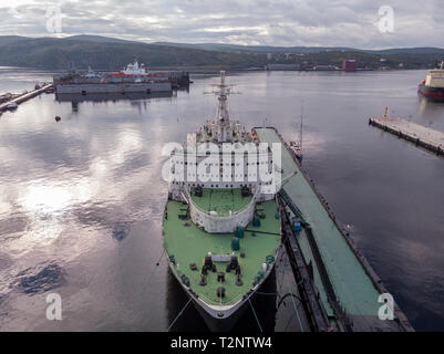 View of the ship from the drone - Stock Photo