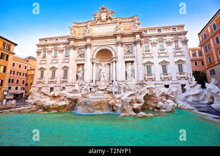 Majestic Trevi fountain in Rome street view, eternal city, capital of Italy - Stock Photo