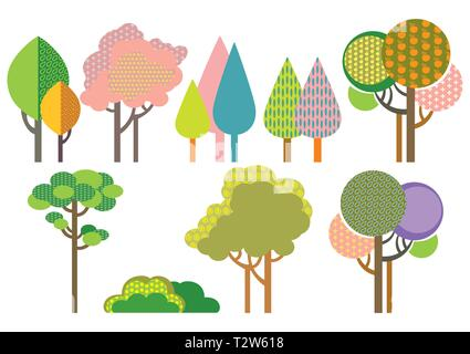 Colorful decorative outline funny trees with seamless pattern forms. Vector cartoon flat illustration in different colors isolated on white background - Stock Photo