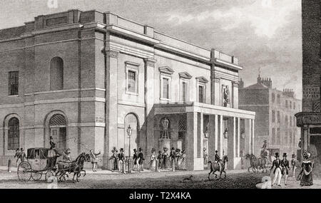 The Theatre Royal, Drury Lane, London, UK, illustration by Th. H. Shepherd, 1826 - Stock Photo
