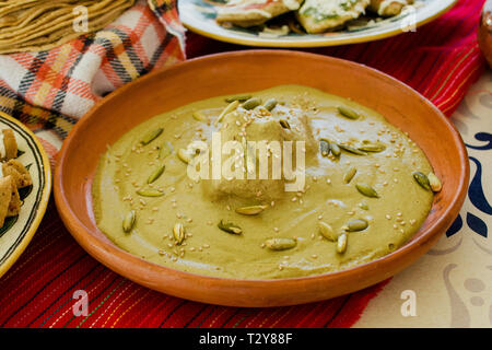 Pipian verde, Traditional Mexican Food in mexico city - Stock Photo