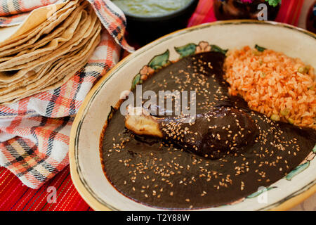 Mole Poblano Traditional Mexican Food with Chicken in Mexico - Stock Photo