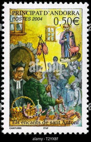 Postage stamp from Andorra in the Sages and Legends series issued in 2004 - Stock Photo