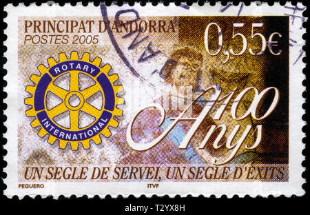 Postage stamp from Andorra in the Rotary International, Centenary series issued in 2005 - Stock Photo
