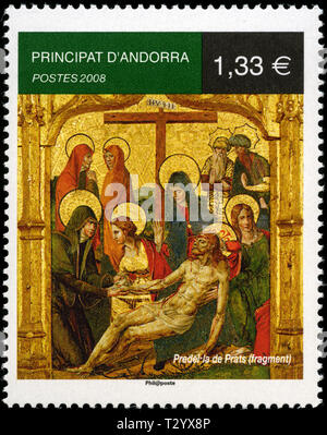 Postage stamp from Andorra in the Religions and faiths series issued in 2008 - Stock Photo