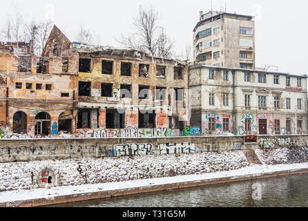 Many buildings in Sarajevo still show the damage scars of the 1992-96 siege of the city. Bosnia and Herzegovina - Stock Photo