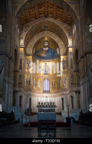 Famous mosaics and Jesus Christ Pantocrator at cathedral Basilica Cattedrale Parrocchia Santa Maria Nuova in Monreale, Sicily, Italy - Stock Photo