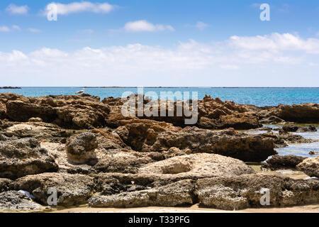 Rocky coast of Elafonisi beach. Crete, Greece. Europe - Stock Photo