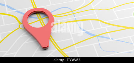 GPS, navigation concept. Pointer location, red color, on map background, banner, copy space. 3d illustration - Stock Photo