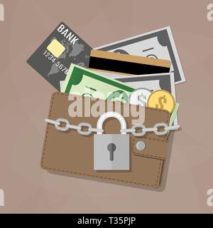 Closed brown leather wallet with dollar cash, coins, debit credit cards inside and locked silver pad lock with chain. vector illustration in flat desi - Stock Photo