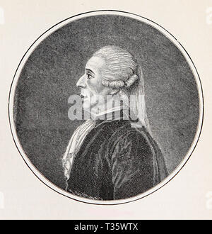 Jean Sylvain Bailly (1736 – 1793) was a French astronomer, mathematician, freemason  and political leader of early French Revolution guillotined during the Reign of Terror - Stock Photo