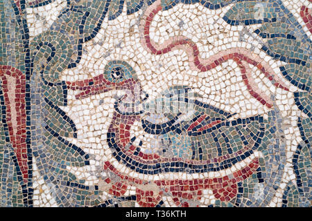Famous mosaics and mosiac art of animals by Ovoid Portico at Roman Villa del Casale, Piazza Armerina, Sicily, Italy - Stock Photo