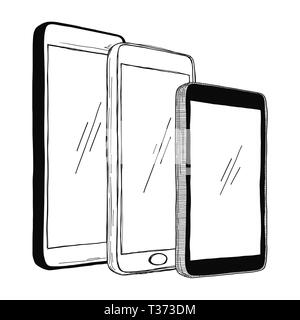 Sketch of smartphones. The set of phones is isolated on a white background. Vector illustration. - Stock Photo