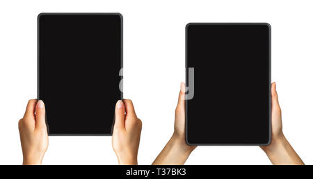 Set of mockups of black tablets in women's hands, concept of taking photo. Isolated with clipping path. - Stock Photo