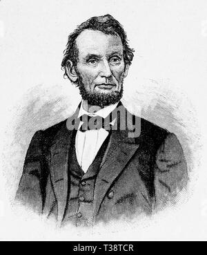 Abraham Lincoln, Digital improved reproduction from Illustrated overview of the life of mankind in the 19th century, 1901 edition, Marx publishing house, St. Petersburg. - Stock Photo