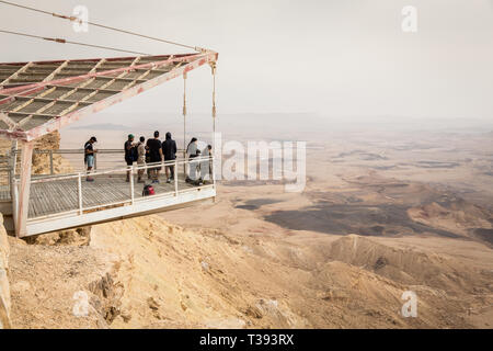 Mitzpe Ramon, Israel - 22 november, 2016: People on observation terraсe at the crater Ramon at  Negev desert, Israel - Stock Photo