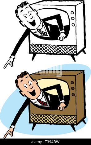 A man popping out of the screen of a vintage television set. - Stock Photo