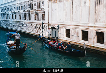 VENICE, ITALY - SEPTEMBER, 9 2018: View of the famous canal rio del Palazzo with gondolas in Venice, Italy. - Stock Photo