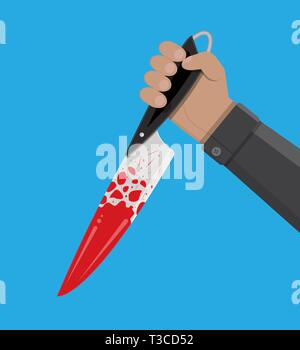 Hand holding a bloody knife. Vector illustration in flat style - Stock Photo