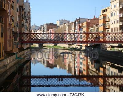 Pont De Les Peixateries Velles Reflections - Stock Photo