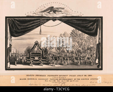 Grand Funeral Pageant at New York July 23, 1850, in honor of the Memory of Major General Zachary Taylor 12th President of the United States, Lithograph, George E. Keefe, 1850 - Stock Photo