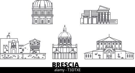 Italy, Brescia line travel skyline set. Italy, Brescia outline city vector illustration, symbol, travel sights, landmarks. - Stock Photo