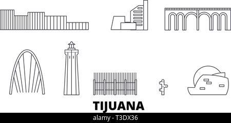 Mexico, Tijuana line travel skyline set. Mexico, Tijuana outline city vector illustration, symbol, travel sights, landmarks. - Stock Photo